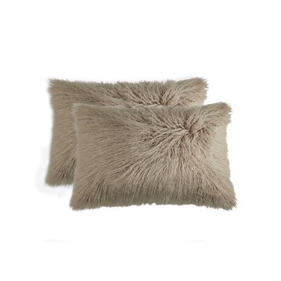 Frisco Faux Fur Lumbar Pillow Color: Tan
