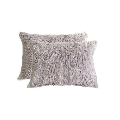 Frisco Faux Fur Lumbar Pillow Color: Sage Grey