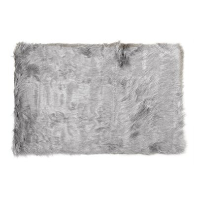 Shawnta Faux Sheepskin Sage Gray Area Rug