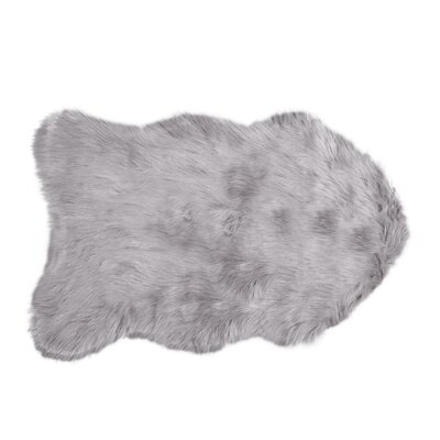 Shayne Faux Sheepskin Sage Gray Area Rug