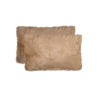Sheba Faux Fur Lumbar Pillow Color: Tan
