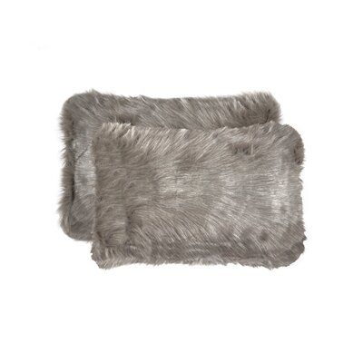 Sheba Faux Fur Lumbar Pillow Color: Gray