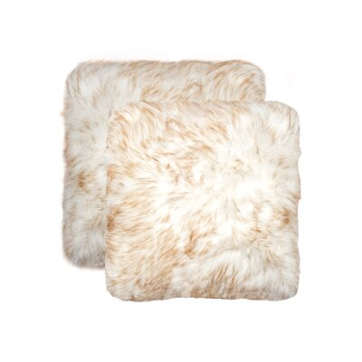 Sheba Faux Fur Throw Pillow Color: Gradient Tan