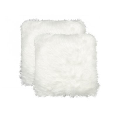 Sheba Faux Fur Throw Pillow Color: White