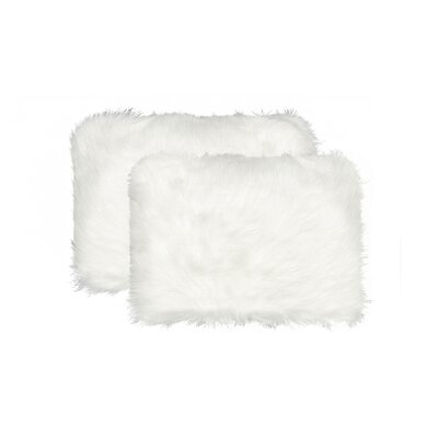 Sheba Faux Fur Lumbar Pillow Color: White