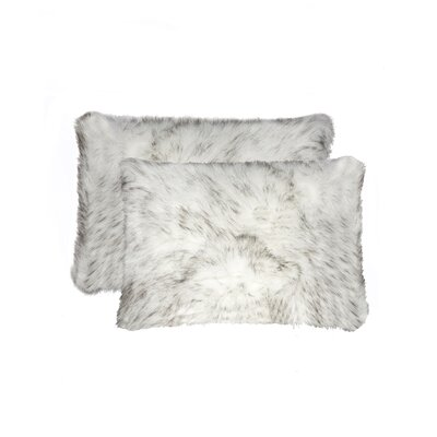 Sheba Faux Fur Lumbar Pillow Color: Gradient Gray