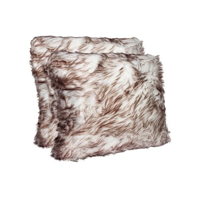 Sheba Faux Fur Throw Pillow Color: Gradient Chocolate