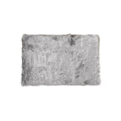 Shawnta Faux Sheepskin Gray Area Rug