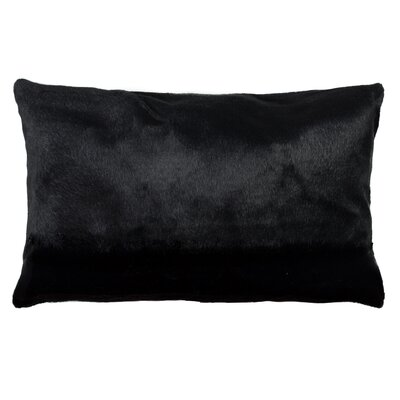 Sheba Coyote Faux Fur Lumbar Pillow Color: Black