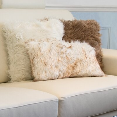 Sheba Faux Fur Lumbar Pillow Color: Gradiant Tan