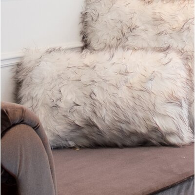 Sheba Faux Fur Lumbar Pillow Color: Gradiant Gray