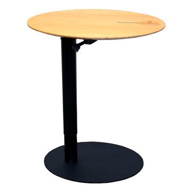 26 L x 20 W Height Adjustable Cafe Table Base Finish: Black, Top Finish: Light Bamboo