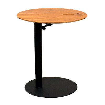 26 L x 20 W Height Adjustable Cafe Table Base Finish: Black, Top Finish: Dark Bamboo