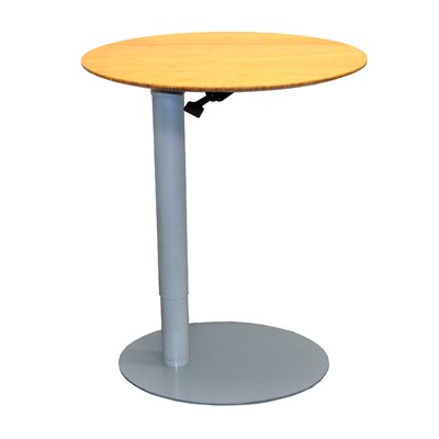 26 L x 20 W Height Adjustable Cafe Table Base Finish: Silver, Top Finish: Light Bamboo