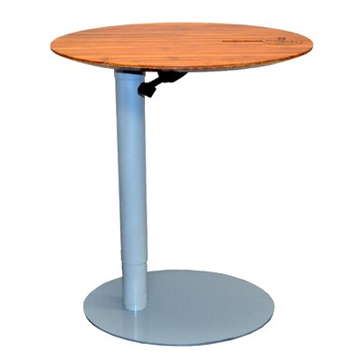 26 L x 20 W Height Adjustable Cafe Table Base Finish: Silver, Top Finish: Dark Bamboo