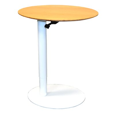 26 L x 20 W Height Adjustable Cafe Table Base Finish: White, Top Finish: Light Bamboo