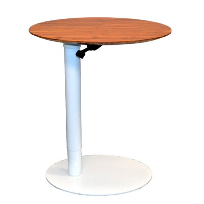 26 L x 20 W Height Adjustable Cafe Table Base Finish: White, Top Finish: Dark Bamboo