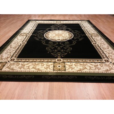 Black/Beige Area Rug Rug Size: Rectangle 66x99