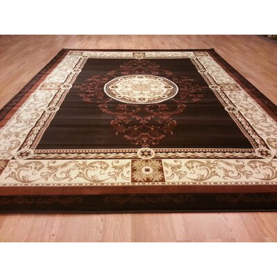 Brown Area Rug Rug Size: Round 7