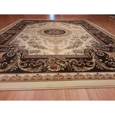 Ivory/Brown Area Rug Rug Size: Round 7'