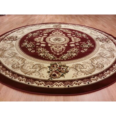 Red Area Rug Rug Size: Round 8