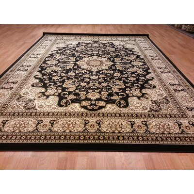 Black/Beige Area Rug Rug Size: Rectangle 53 x 72