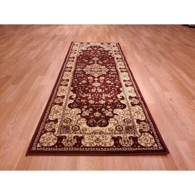 Red/Biege Area Rug Rug Size: Runner 27 x 910