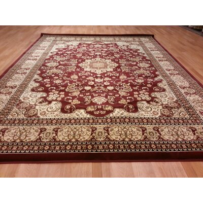 Red/Biege Area Rug Rug Size: 53 x 72