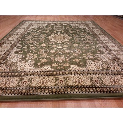 Green/Beige Area Rug Rug Size: Rectangle 53 x 72
