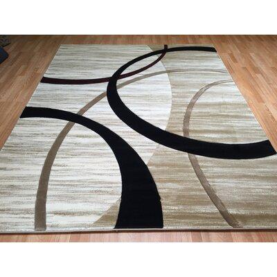 Biege/Black Area Rug Rug Size: 711 x 910