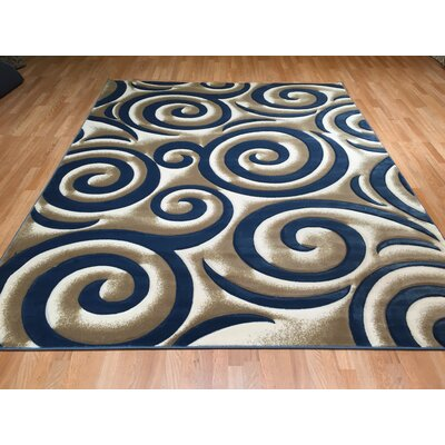 Blue/Brown Area Rug Rug Size: 711 x 910