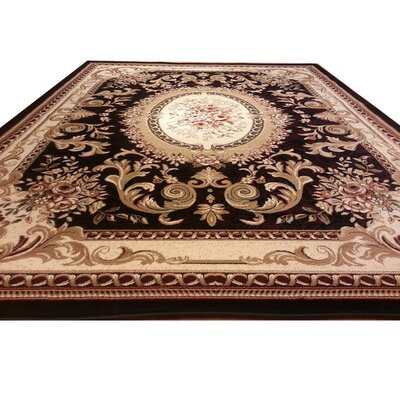 Black/Beige Area Rug Rug Size: Rectangle 4 x 6