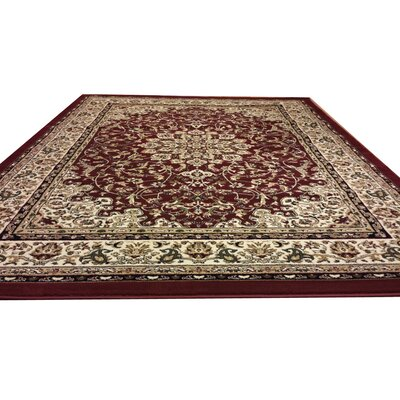 Red Area Rug Rug Size: Round 5