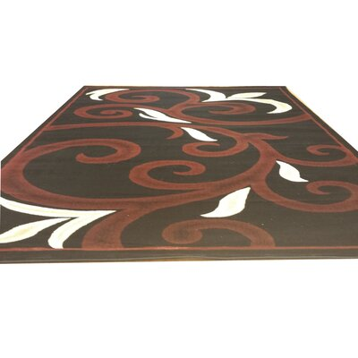 Black/Red Area Rug Rug Size: Rectangle 53 x 72