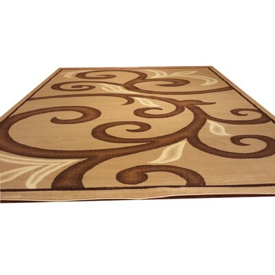 Beige/Brown Area Rug Rug Size: Round 8