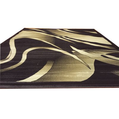 Black/Green Area Rug Rug Size: Rectangle 53 x 72