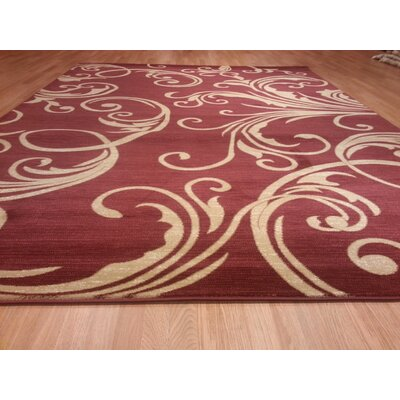 Beige & Burgundy Area Rug Rug Size: Rectangle 711 x 910