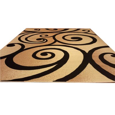 Beige/Black Area Rug Rug Size: Rectangle 53 x 72