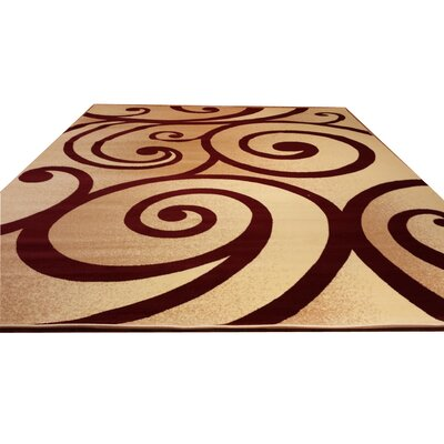 Beige/Red Area Rug Rug Size: Rectangle 53 x 72