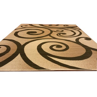 Beige/Green Area Rug Rug Size: Rectangle 10 x 13