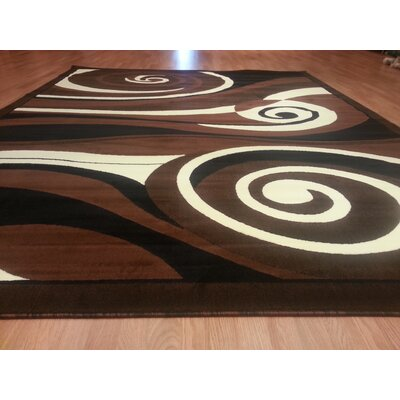 Hand-Carved Black/Brown Area Rug Rug Size: 3 x 5