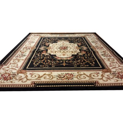 Black/Beige Area Rug Rug Size: Rectangle 10 x 13