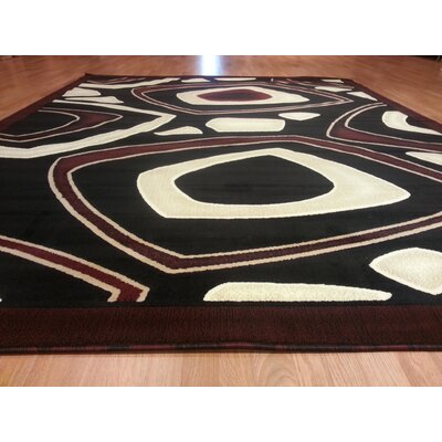 Hand-Carved Black/Red Area Rug Rug Size: 711 x 910