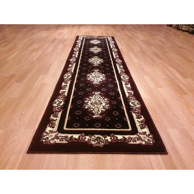 Hand-Carved Black/Red Area Rug Rug Size: Runner 2 x 72