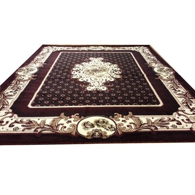 Hand-Carved Black/Red Area Rug Rug Size: Round 8