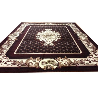 Hand-Carved Black/Red Area Rug Rug Size: 10 x 13
