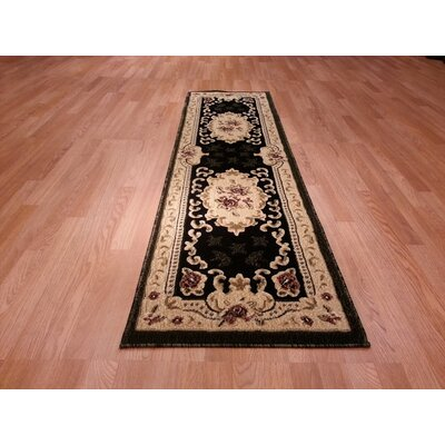 Hand-Carved Red/Beige Area Rug Rug Size: Runner 27 x 91