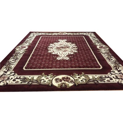 Hand-Carved Red Area Rug Rug Size: 3 x 5
