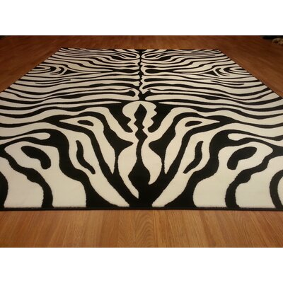 Hand-Carved Black/White Area Rug Rug Size: Rectangle 53 x 72