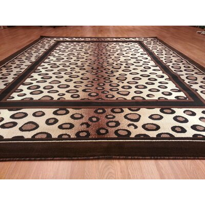 Hand-Carved Brown Area Rug Rug Size: 4 x 6